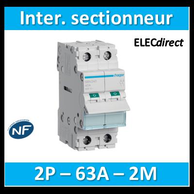 Hager - Interrupteur sectionneur 2P - 63A - 2M - SBN263