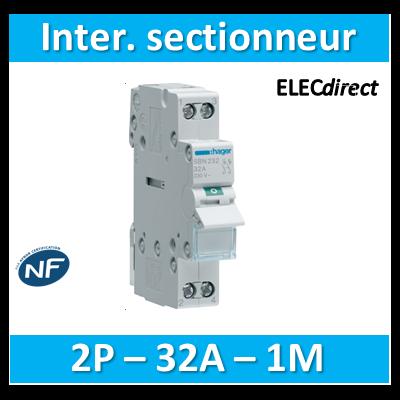 Hager - Interrupteur sectionneur 2P - 32A - 1M - SBN232