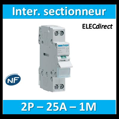 Hager - Interrupteur sectionneur 2P - 25A - 1M - SBN225