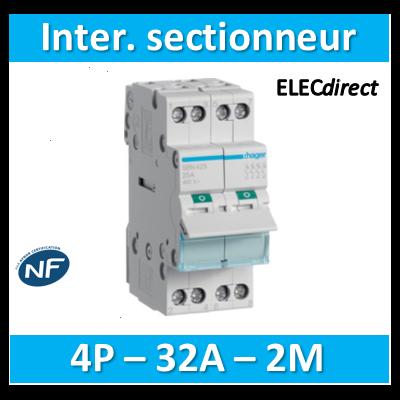 Hager - Interrupteur sectionneur 4P - 32A - 2M - SBN432