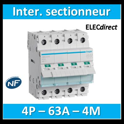 Hager - Interrupteur sectionneur 4P - 63A - 4M - SBN463