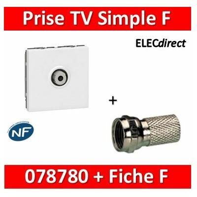 """Legrand Mosaic - Prise TV simple type """"F"""" à visser + fiche F - 2M - 078780+fiche F"""