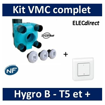Nather - KIT VMC Simple Flux Hygroréglable T5 et + Type A/B - BBC/RT2012 + inter. VMC Mosaic - 503463PP