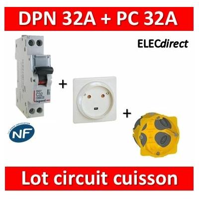 LEGRAND - Lot Disjoncteur DNX3 32A + Prise 32A + boîte BBC - plaque de cuisson - 406777+055812+080086