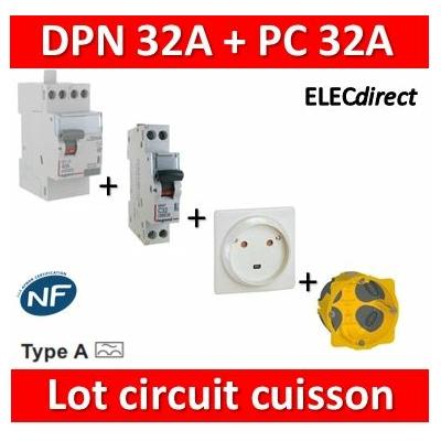 LEGRAND - Lot Disjoncteur DNX3 32A + Prise 32A+ boîte BBC + Dif. A 40A - 406777+055812+080086+411617