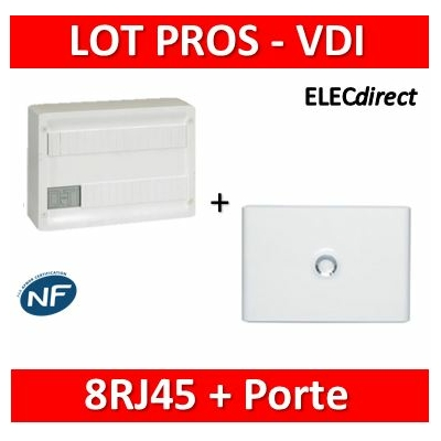 Legrand - Coffret VDI GRADE 1 et 2 avec brassage 18M - 8 RJ45 + Porte Drivia 18M - 418219+401231