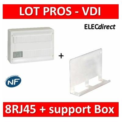 Legrand - Coffret VDI GRADE 1 et 2 avec brassage 18M - 8 RJ45 + Support BOX Tonna - 418219+828080