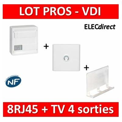 Legrand - Coffret VDI GRADE 1 et 2 - 8 RJ45 + Porte + Support Box Tonna - 413219+401331+828080