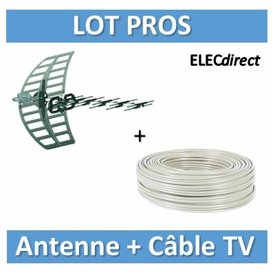 Tonna - Antenne UHF Zenith6 4G - phase passive long. 0,85m + câble TV C100m - 256006+câble TV