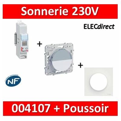 Legrand - Sonnerie modulaire - 230V~ + Poussoir Odace encastré  - 004107+s520266+s50702