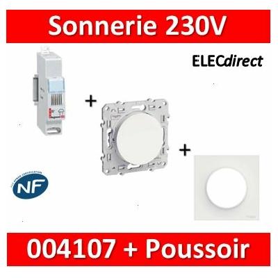 Legrand - Sonnerie modulaire - 230V~ + Poussoir Odace encastré  - 004107+s520206+s520702