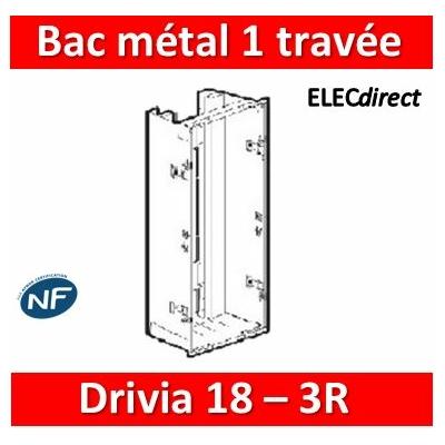 Legrand - Bac métal 1 travée Drivia 18 - coffret 3R + platine + coffret com. - 401445