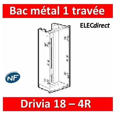 Legrand - Bac métal 1 travée Drivia 18 - coffret 4R + platine + coffret com. - 401446
