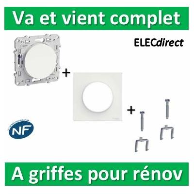 Schneider Odace - Va-et-Vient + plaque + griffes pour rénovation - s520204+s520702+s520690x2