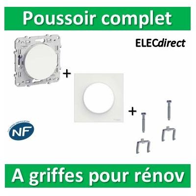 Schneider Odace - Poussoir + plaque + griffes pour rénovation - s520206+s520702+s520690x2