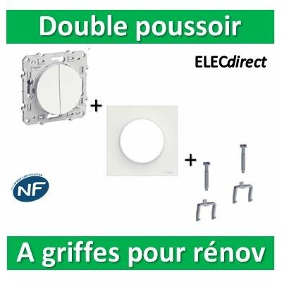 Schneider Odace - Double poussoir + plaque + griffes pour rénovation - s520216+s520702+s520690x2