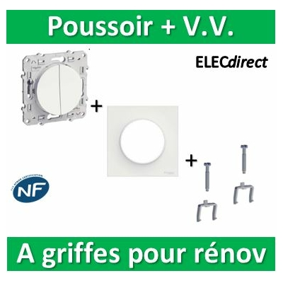 Schneider Odace - Poussoir + V.V. + plaque + griffes pour rénovation - s520285+s520702+s520690x2