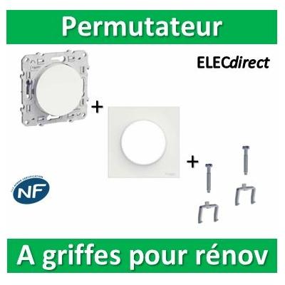 Schneider Odace - Permutateur + plaque + griffes pour rénovation - s520205+s520702+s520690x2