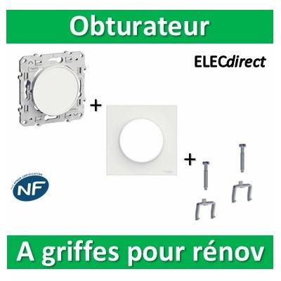 Schneider Odace - Obturateur + plaque + griffes pour rénovation - s520666+s520702+s520690x2
