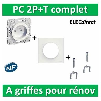 Schneider Odace - PC 2P+T + plaque + griffes pour rénovation - s520059+s520702+s520690x2