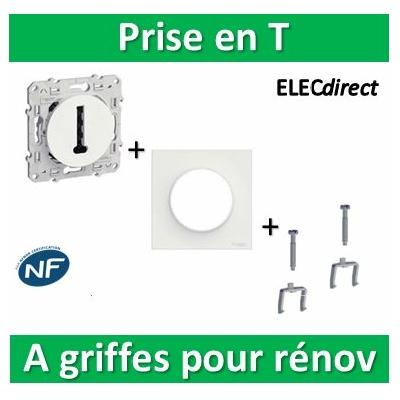 Schneider Odace - Prise en T + plaque + griffes pour rénovation - s520496+s520702+s520690x2