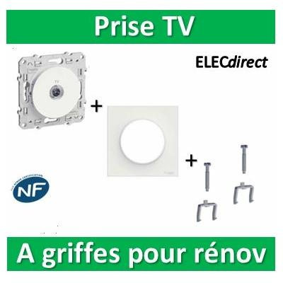 Schneider Odace - Prise TV + plaque + griffes pour rénovation - s520445+s520702+s520690x2