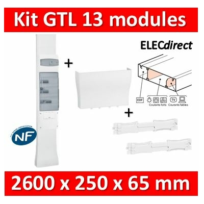 Legrand - Kit GTL 13M - 65 x 250 mm - Avec 2 couvercles courant faible/courant fort 2,45 à 2,60m - 030039