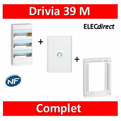 Legrand - LOT PROS - Coffret DRIVIA 39 Modules + rehausse + porte - 401213+401373+401333