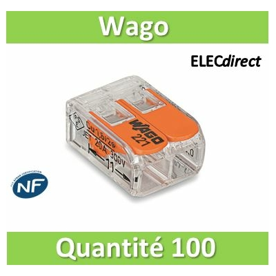WAGO - Boîte de 100 Bornes auto fils Souple / Rigide 2 x (0.08 à 4mm2) - WAGO 221-412