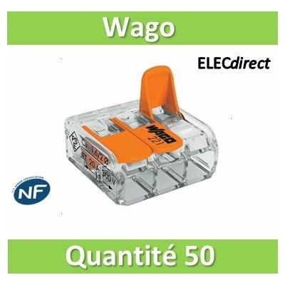 WAGO - Boîte de 50 Bornes auto fils Souple / Rigide 3 x (0.08 à 4mm2) - WAG 221-413