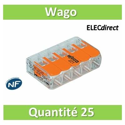 WAGO - Boîte de 25 Bornes auto fils Souple / Rigide 5 x (0.08 à 4mm2) - WAG 221-415