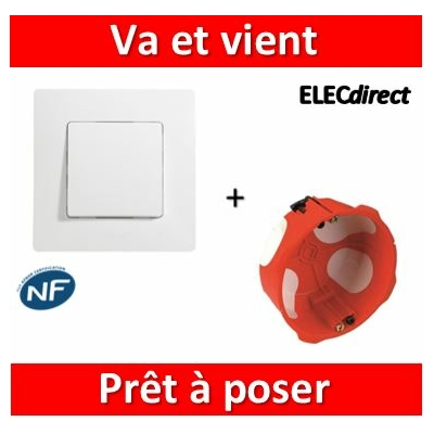 Legrand Niloé - Va et Vient Blanc + plaque + boîte encastrée SIB BBC - 664701+665001+36840