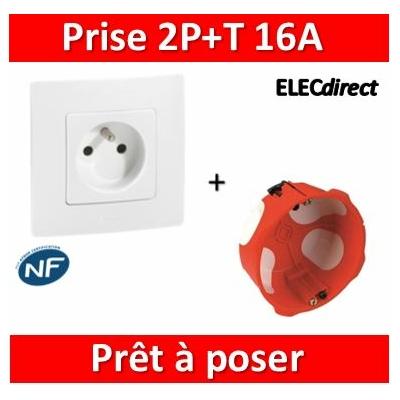 Legrand Niloé - Prise 2P+T Blanc + plaque + boîte encastrée SIB BBC - 664735+665001+36840