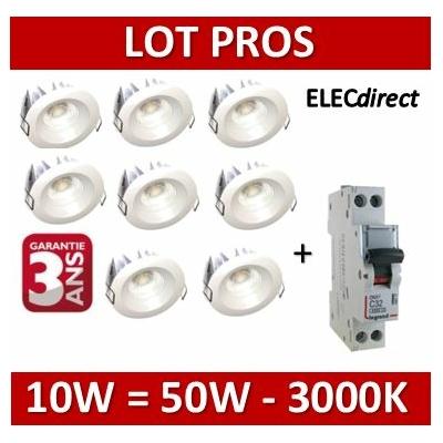 Lited - 8 Spots LED 10W MonoLED + disjoncteur DNX3 10A - 3000K - 676lm