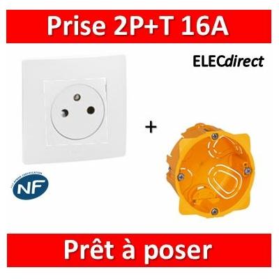 Legrand Niloé - Prise 2P+T Blanc Surface + plaque + boîte encastrée Batibox - 664737+665001+080041