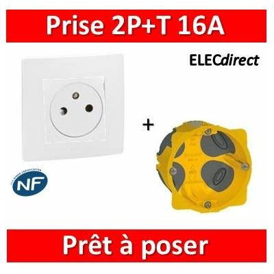 Legrand Niloé - Prise 2P+T Blanc + plaque + boîte encastrée Batibox BBC - 664737+665001+080021