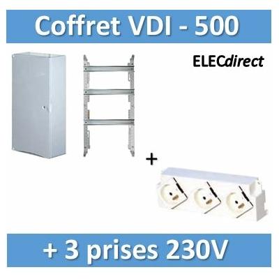 Tonna - Coffret 500 + porte blanche prémonté + Bloc 3 prises 230V - 828510+828050