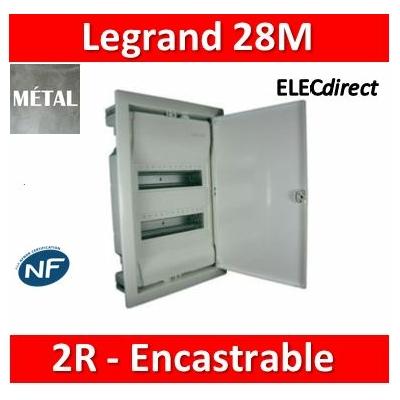 Legrand - Coffret encastré - porte métal extra plate - 2 rangées - 24+4 mod - 001532