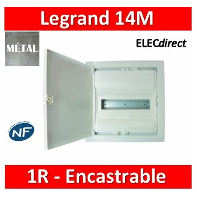 Legrand - Coffret encastré - porte métal extra plate - 1 rangée - 12+2 mod - 001531