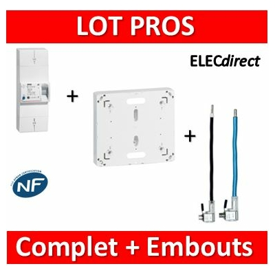 Legrand - Disjoncteur EDF 15/45A instantané + platine + embouts 60A PH+N - 401000+401191+embouts