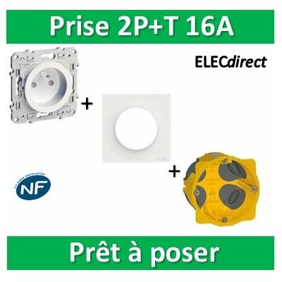 Schneider Odace - Prise + plaque + boîte d'encastrement Legrand BBC - s520059+s520702+080021
