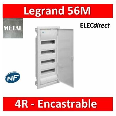 Legrand - Coffret encastré - porte métal extra plate - 4 rangées - 48+8 mod - 001534