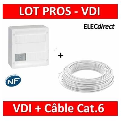 Legrand - Coffret VDI GRADE 1 et 2 - 4 RJ45 + Câble Cat.6 FTP 525Mhz C.100m - 413218+Câble