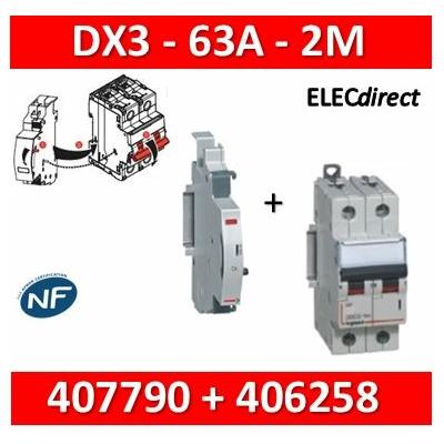 Legrand - Disjoncteur bipolaire DX3 63A + contact auxiliaire inverseur (CA) - 407790+406258