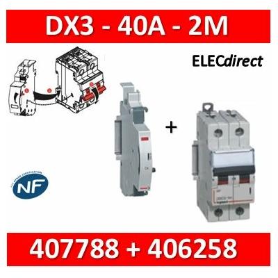 Legrand - Disjoncteur bipolaire DX3 40A + contact auxiliaire inverseur (CA) - 407788+406258
