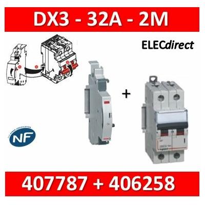 Legrand - Disjoncteur bipolaire DX3  32A - contact auxiliaire inverseur (CA) - 407787+406258