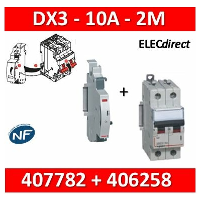 Legrand - Disjoncteur bipolaire DX3 10A + contact auxiliaire inverseur (CA) - 407782+406258