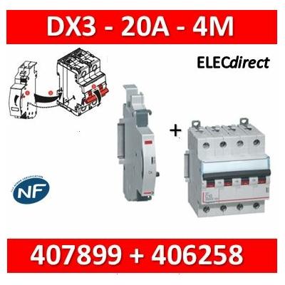Legrand - Disjoncteur 4P DX3  20A + contact auxiliaire inverseur (CA) - 407899+406258