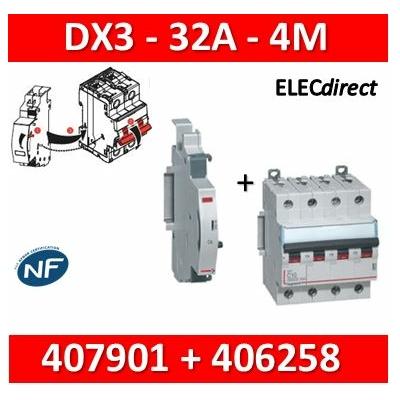 Legrand - Disjoncteur 4P DX3 32A + contact auxiliaire inverseur (CA) - 407901+406258