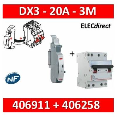 Legrand - Disjoncteur 4P DX3 - 20A + contact auxiliaire inverseur (CA) - 406911+406258